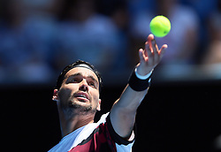 MELBOURNE, Jan. 22, 2018  Fabio Fognini of Italy serves during the men's singles fourth round match against Tomas Berdych (R) of the Czech Republic at Australian Open 2018 in Melbourne, Australia, Jan. 22, 2018. Tomas Berdych won 3-0. (Credit Image: © Li Peng/Xinhua via ZUMA Wire)