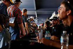 March 1, 2019 - Las Vegas, NV, U.S. - LAS VEGAS, NV - MARCH 01: Spencer Boyd (20) Randy Young Chevrolet Silverado signs autographs in the Neon Garage prior to practice and qualifying for the NASCAR Gander Outdoors Truck Series on March 1, 2019, at Las Vegas Motor Speedway in Las Vegas, NV. (Photo by Joe Buglewicz/Icon Sportswire) (Credit Image: © Joe Buglewicz/Icon SMI via ZUMA Press)