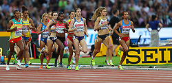 London, 2017-August-04. Laura Weightman of Great Britain, Muriel Coneo of Colombia and Constant Klosterhalfen of Germany lead the pack in heat 3 of the women's 1,500m at the IAAF World Championships London 2017. Paul Davey.