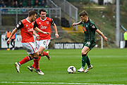 Matthew Kennedy (16) of Plymouth Argyle looking for a way throught the Morecambe defence during the EFL Sky Bet League 2 match between Plymouth Argyle and Morecambe at Home Park, Plymouth, England on 18 March 2017. Photo by Graham Hunt.