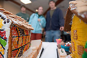 The Baker Food Court is hosting a Gingerbread Competition...Eric Gorscak, Sarah DeWitt, and Nathan Jud(blue)