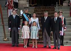 Spain's King Felipe VI (2nd L, back), Spain's Queen Letizia (3rd L, back) and Spanish Crown Princess of Asturias Leonor (1st L, front) and Spanish Princess Sofia (2nd L,front) pose for photos prior to the new king's succession ceremony in Madrid. EXPA Pictures © 2014, PhotoCredit: EXPA/ Photoshot/ Xie Haining<br /> <br /> *****ATTENTION - for AUT, SLO, CRO, SRB, BIH, MAZ only*****
