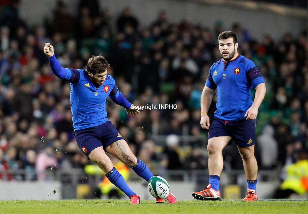 RBS 6 Nations Championship, Aviva Stadium, Dublin 14/2/2015<br /> Ireland vs France <br /> France's Camille Lopez kicks a penalty<br /> Mandatory Credit &copy;INPHO/Colm O'Neill