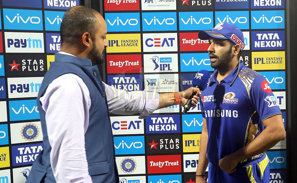 Rohit Sharma captain of the Mumbai Indians after the match thirty seven of the Vivo Indian Premier League 2018 (IPL 2018) between the Mumbai Indians and the Kolkata Knight Riders   held at the Wankhede Stadium in Mumbai on the 6th May 2018.<br /> <br /> Photo by: Sandeep Shetty /SPORTZPICS for BCCI