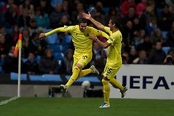 18.10.2011, City of Manchester Stadion, Manchester, ENG, UEFA CL, Gruppe A, Manchester City (ENG) vs FC Villarreal (ESP), im Bild Villarreal CF's Cani celebrates scoring the first goal against Manchester City // during UEFA Champions League group A match between Manchester City (ENG) vs FC Villarreal (ESP) at City of Manchester Stadium, Manchaster, United Kingdom on 18/10/2011. EXPA Pictures © 2011, PhotoCredit: EXPA/ Propaganda Photo/ David Rawcliff +++++ ATTENTION - OUT OF ENGLAND/GBR+++++