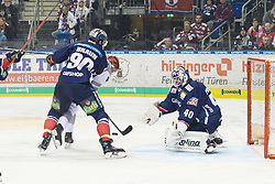 01.03.2019, O2 World, Berlin, GER, DEL, Eisbaeren Berlin vs Koelner Haie, 52. Runde, im Bild v.l. Constantin Braun - Eisbaeren, #k, Kevin Poulin - Eisbaeren // during the DEL 52th round match between Eisbaeren Berlin and Koelner Haie at the O2 World in Berlin, Germany on 2019/03/01. EXPA Pictures © 2019, PhotoCredit: EXPA/ Eibner-Pressefoto/ Uwe Koch<br /> <br /> *****ATTENTION - OUT of GER*****