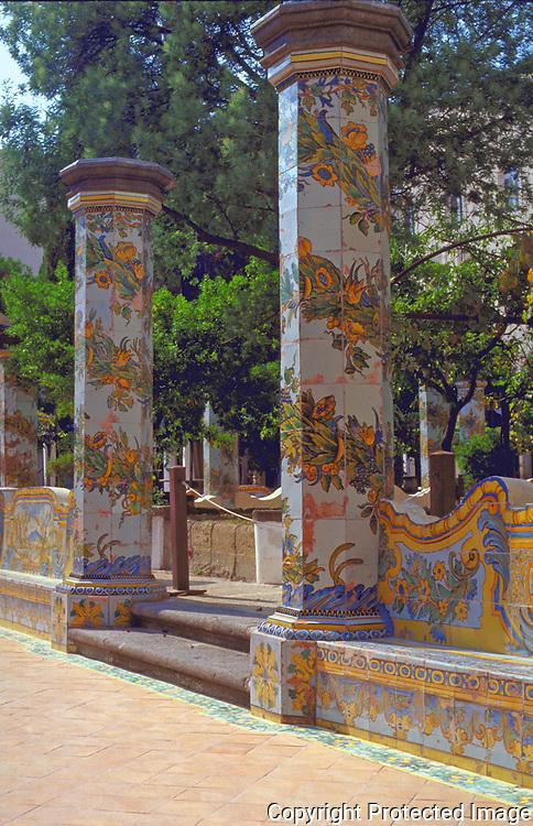 The tilled garden of Chiostro di Santa Chiara near to the Piazza Gesu and Chiesa Santa Chiara in the historic Centro Storico district of Napoli and on the Spaccanapoli.