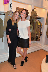Left to right, INDIA HICKS and SAFFRON ALDRIDGE at a party to celebrate the publication of India Hicks: Island Style hosted by Princess Marie-Chantal of Greece, Saffron Aldridge and Amanda Brooks has held at Ralph Lauren, 105-109 Fulham Road, London on 28th April 2015,