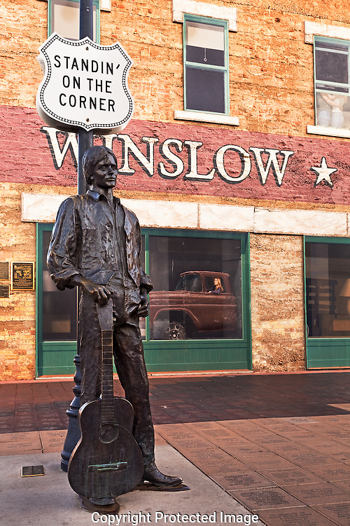 route 66 standin 39 on the corner eagles song statue winslow arizona larry lindahl. Black Bedroom Furniture Sets. Home Design Ideas
