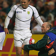 Bryan Habana, South Africa, is treated before leaving the field injured  during the South Africa V Samoa, Pool D match during the IRB Rugby World Cup tournament. North Harbour Stadium, Auckland, New Zealand, 30th September 2011. Photo Tim Clayton...