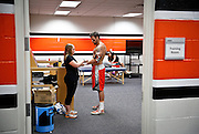 DENVER, CO - JULY 4: Chris O'Dougherty #4 of the Denver Outlaws gets taped up before their MLL game game against the Boston Cannons at Sports Authority Field at Mile High on July 4, 2015 in Denver, Colorado. The Cannons won the game 22-9. (Photo by Marc Piscotty/Getty Images) *** Local Caption *** Chris O'Dougherty