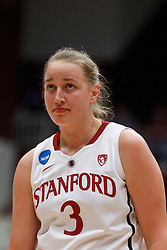 March 21, 2011; Stanford, CA, USA; Stanford Cardinal forward Mikaela Ruef (3) before a free throw against the St. John's Red Storm during the second half of the second round of the 2011 NCAA women's basketball tournament at Maples Pavilion. Stanford defeated St. John's 75-49.