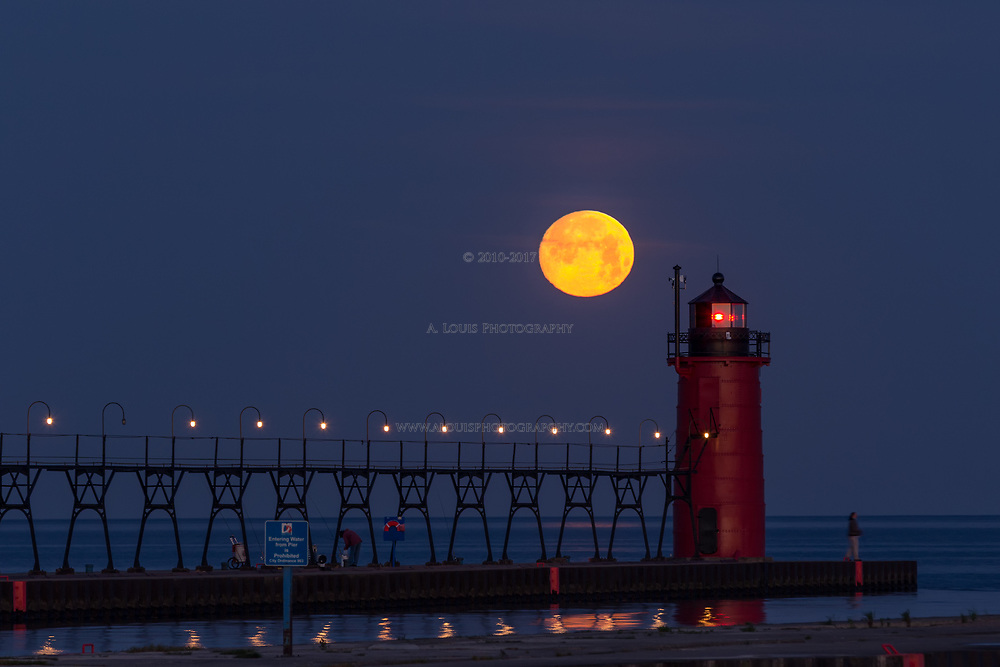 The Full Moon preparing to set on Lake Michigan