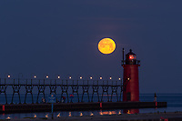The Full Moon preparing to set on Lake Michigan