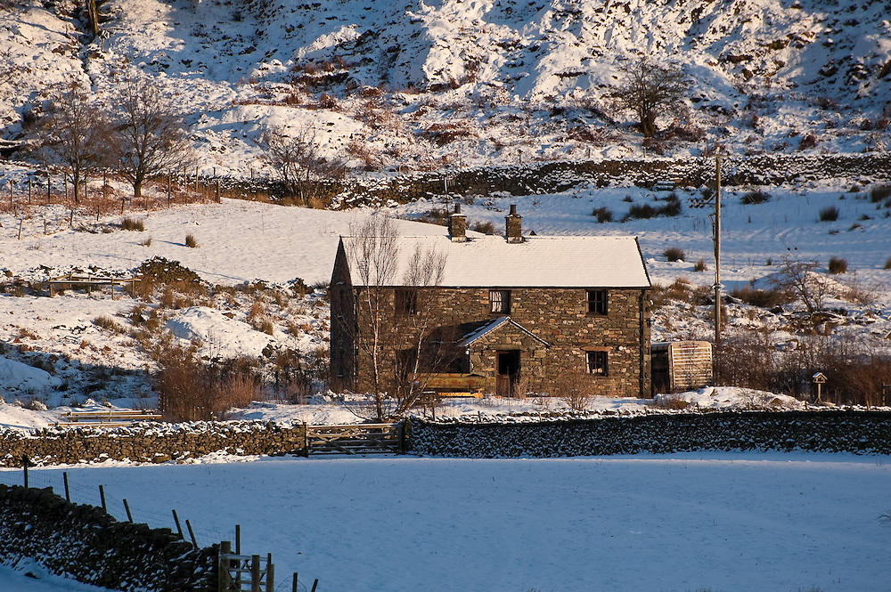 Hartsop village, Patterdale, Ullswater, Lake District, Cumbria, in winter snow