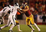 25 OCTOBER 2008: Texas A&M wide receiver Jamie McCoy (4) blocks Iowa State defensive end Kurtis Taylor (47) in the second half of an NCAA college football game between Iowa State and Texas A&M, at Jack Trice Stadium in Ames, Iowa on Saturday Oct. 25, 2008. Texas A&M beat Iowa State 49-35.