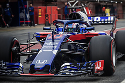 March 1, 2018 - Barcelona, Catalonia, Spain - PIERRE GASLY (FRA) in his Toro Rosso STR13 at the pit stop at day four of Formula One testing at Circuit de Catalunya. (Credit Image: © Matthias Oesterle via ZUMA Wire)