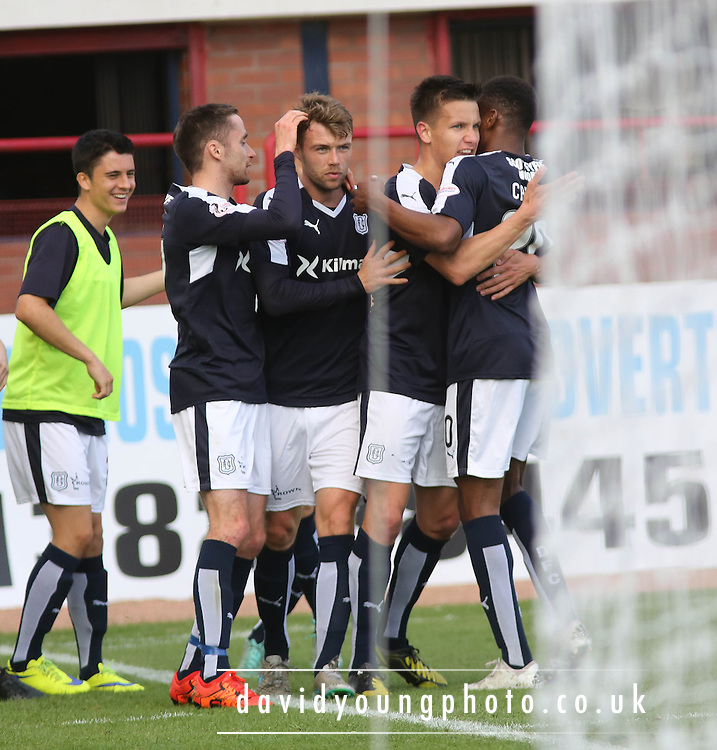 Dundee&rsquo;s Rory Loy is congratulated after scoring the opener - Dundee v Motherwell - Ladbrokes Premiership at Dens Park<br /> <br /> <br />  - &copy; David Young - www.davidyoungphoto.co.uk - email: davidyoungphoto@gmail.com
