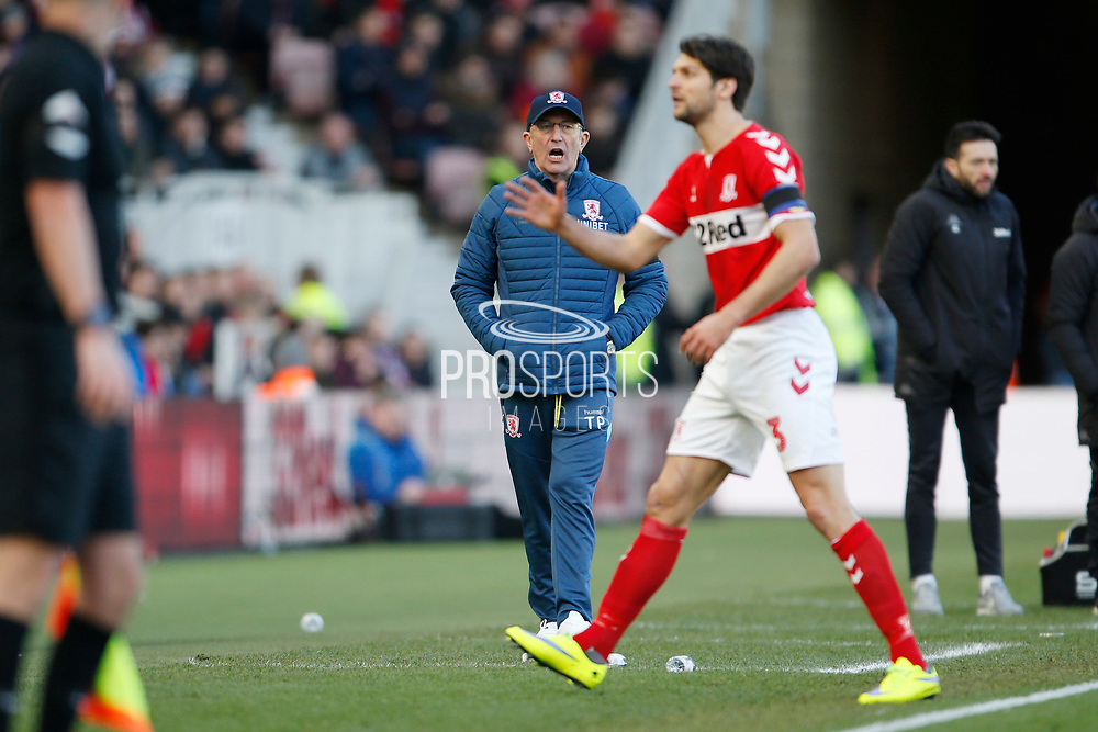 Middlesbrough Manager Tony Pulis during the EFL Sky Bet Championship match between Middlesbrough and Leeds United at the Riverside Stadium, Middlesbrough, England on 9 February 2019.