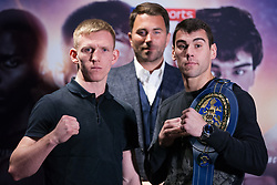 London, UK. 14th January, 2019. Boxing promoter Eddie Hearn (c) stands with Ted Cheeseman (l) and Sergio Garcia (r) at a press conference to promote their 12x3 mins European Super-Welterweight Championship fight at the 02 on 2nd February.