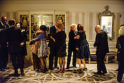 "Photo by Matt Roth.Assignment ID: 10137379A..Vicki Sant hugs Representative Doris Matsui while fellow host Buffy Cafritz greets Alexandra de Borchgrave . and Arnaud de Borchgrave...Buffy and Bill Cafritz, Ann and Vernon Jordan, Vicki and Roger Sant threw an inaugural ""Bi-Partisan Celebration"" at the Dolley Madison Ballroom at the Madison Hotel in Washington, D.C. on Sunday, January 20, 2013."