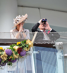 HRH The DUKE OF EDINBURGH and HRH The COUNTESS OF WESSEX at the Investec Derby at Epsom Racecourse, Epsom Downs, Surrey on 4th June 2011.