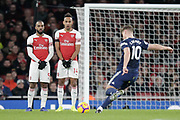 a9 Arsenal striker Alexandre Lacazette (9) and Arsenal striker Pierre-Emerick Aubameyang (14) form a small wall to defend a free kick by Fulham striker Floyd Ayite (11) during the Premier League match between Arsenal and Fulham at the Emirates Stadium, London, England on 1 January 2019.