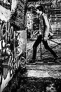 April 2015. Paris. A boy walking near Saint-Martin's channel.