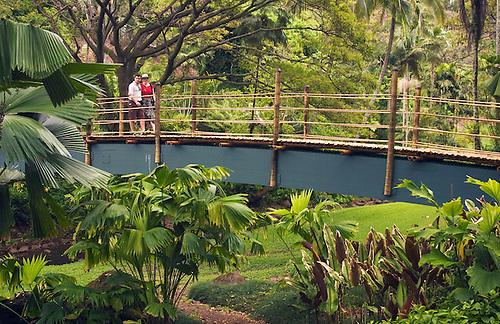Bon National Tropical Botanical Garden At Lawai, Kauai, Hawaii: Couple On  Bridge Over Stream.