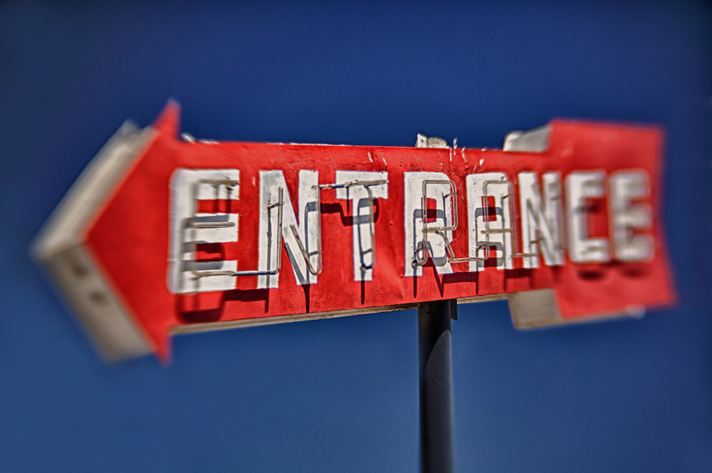 Entrance Sign - Famoso, CA - Highway 99 - HDR - Lensbaby