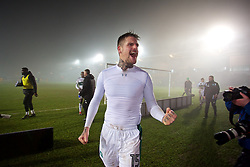 NEWPORT, WALES - Wednesday, December 21, 2016: Plymouth Argyle's Jordan Green celebrates the 1-0 extra-time victory over Newport County during the FA Cup 2nd Round Replay match at Rodney Parade. (Pic by David Rawcliffe/Propaganda)