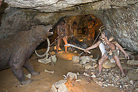 Neanderthal tableau, La Roque Saint Christophe the fortified town in the cliff above the Vezere river ..., Travel, lifestyle