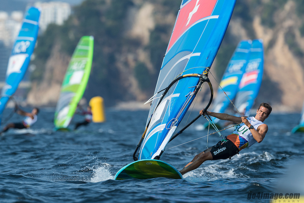 Rio 2016, Brazil Rio de Janeiro  August 2016 Guanabara Bay, RSX men racing during the Rio 2016 Olympic Games