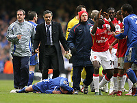Photo: Rich Eaton.<br /> <br /> Chelsea v Arsenal. Carling Cup Final. 25/02/2007. Jose Mourinho, manager of Chelsea, looks on with concern as Wayne Bridge of Chelsea lies injured after the brawl