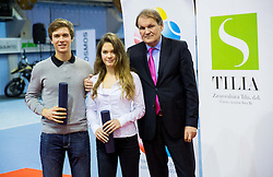 Matic Spec, Lara Vovk and Marko Umberger, president of TZS at Tennis exhibition day and Slovenian Tennis personality of the year 2013 annual awards presented by Slovene Tennis Association TZS, on December 21, 2013 in BTC City, TC Millenium, Ljubljana, Slovenia.  Photo by Vid Ponikvar / Sportida
