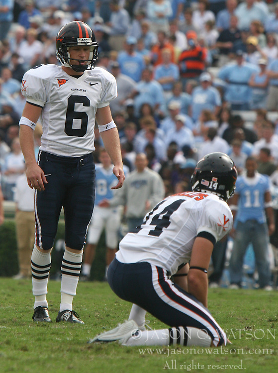 Virginia PK Connor Hughes (6) lines up for a field goal against UNC.  The North Carolina Tar Heels defeated the Virginia Cavaliers 7-5 on October 22, 2005 in Chapel Hill, NC.