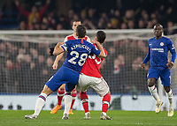 Football - 2019 / 2020 Premier League - Chelsea vs. Arsenal<br /> <br /> Cesar Azpilicueta (Chelsea FC) and Gabriel Martinelli (Arsenal FC) compete for the high ball at Stamford Bridge <br /> <br /> COLORSPORT/DANIEL BEARHAM