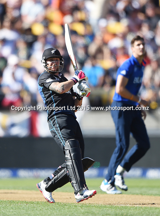 New Zealand Captain Brendon McCullum batting during the ICC Cricket World Cup match between New Zealand and England in Wellington, New Zealand. Friday 20 February 2015. Copyright Photo: Andrew Cornaga / www.Photosport.co.nz