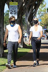 EXCLUSIVE: Gwyneth Paltrow and Brad Falchuk enjoy a Sunday stroll in the sunshine. The couple were wearing face masks as the took a break from quarantine amid the Los Angeles Covid-19 lockdown. 17 May 2020 Pictured: Gwyneth Paltrow, Brad Falchuk. Photo credit: Rachpoot/MEGA TheMegaAgency.com +1 888 505 6342