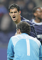 "PORTUGAL - PORTO 23 FEBRUARY 2005: RICARDO COSTA Moreira #5 celebrates his goal looking to FRANCESCO TOLDO #1, in the First Knock-out Round First Leg of the UEFA Champions League, match FC Porto (1) vs FC Internazionale (1), held in ""Dragao"" stadium  23/02/2005  21:02:10<br />