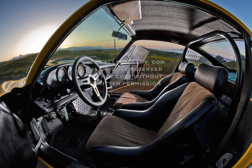 Auto Cinema from Automotive Car Photographer Randy Wells, Image of the interior of a yellow 1967 Porsche 911 R Tribute car in Solvang, California, American Southwest, property released