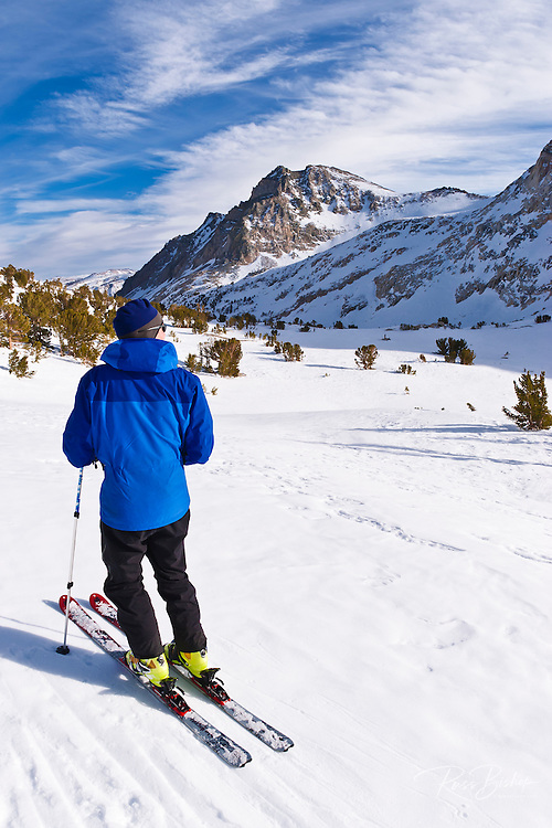 Backcountry skier dropping down from Piute Pass, Inyo National Forest, Sierra Nevada Mountains, California