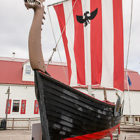 A wooden Viking ship on display outside of the Sons of Norway hall in downtown Petersburg, a fishing village in Southeast Alaska known as Little Norway.
