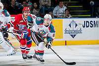 KELOWNA, CANADA - MARCH 7: Colten Martin #8 of Kelowna Rockets skates against the Spokane Chiefs on March 7, 2015 at Prospera Place in Kelowna, British Columbia, Canada.  (Photo by Marissa Baecker/Shoot the Breeze)  *** Local Caption *** Colten Martin;