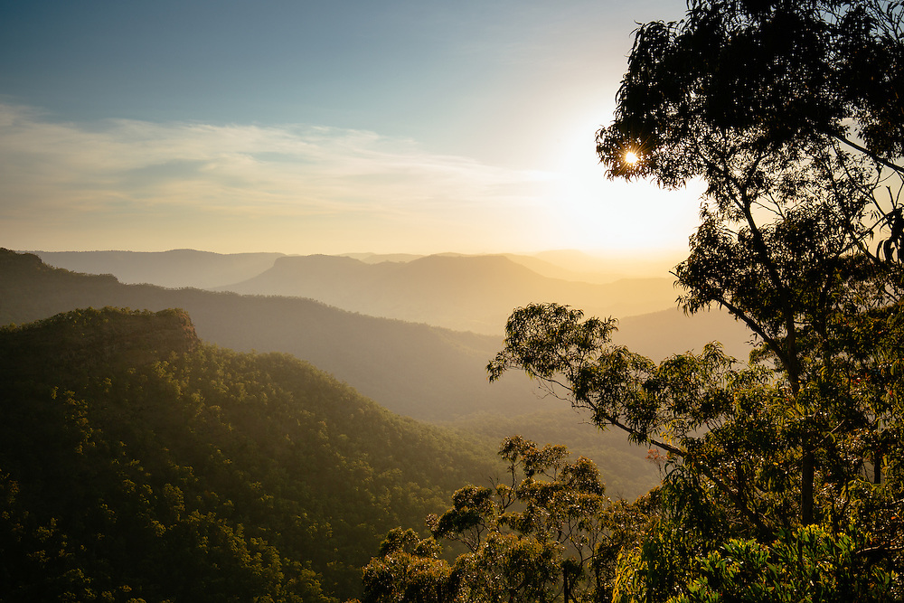Sunset across the ridges and valleys running west from Lamington National Park. Python Rock Lookout.