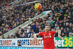 NEWCASTLE-UPON-TYNE, ENGLAND - Sunday, December 6, 2015: Liverpool's Alberto Moreno in action against Newcastle United during the Premier League match at St. James' Park. (Pic by David Rawcliffe/Propaganda)