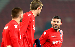 Jonathan Walters of Stoke City smiles during the warm up - Mandatory by-line: Robbie Stephenson/JMP - 31/10/2016 - FOOTBALL - Bet365 Stadium - Stoke-on-Trent, England - Stoke City v Swansea City - Premier League