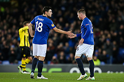 Everton's Gareth Barry congratulates Everton's James McCarthy after being substituted - Photo mandatory by-line: Matt McNulty/JMP - Mobile: 07966 386802 - 26/02/2015 - SPORT - Football - Liverpool - Goodison Park - Everton v Young Boys - UEFA EUROPA LEAGUE ROUND OF 32 SECOND LEG