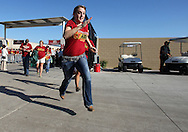 September 10, 2011: Iowa State fans run in as the gates open before the game between the Iowa Hawkeyes and the Iowa State Cyclones during the Iowa Corn Growers Cy-Hawk game at Jack Trice Stadium in Ames, Iowa on Saturday, September 10, 2011. Iowa defeated Iowa State X-X.