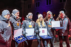 27.02.2018, Salzburg, AUT, PyeongChang 2018, ÖOC Medaillenfeier, im Bild v.l.: ÖSV Präsident Peter Schröcksnadel, Matthias Mayer, Marcel Hirscher, Anna Gasser, David Gleirscher, ÖOC-Generalsekretär Peter Mennel // during a ÖOC medal celebration Party after the Olympic Winter Games Pyeongchang 2018 in Salzburg, Austria on 2018/02/27. EXPA Pictures © 2018, PhotoCredit: EXPA/ JFK